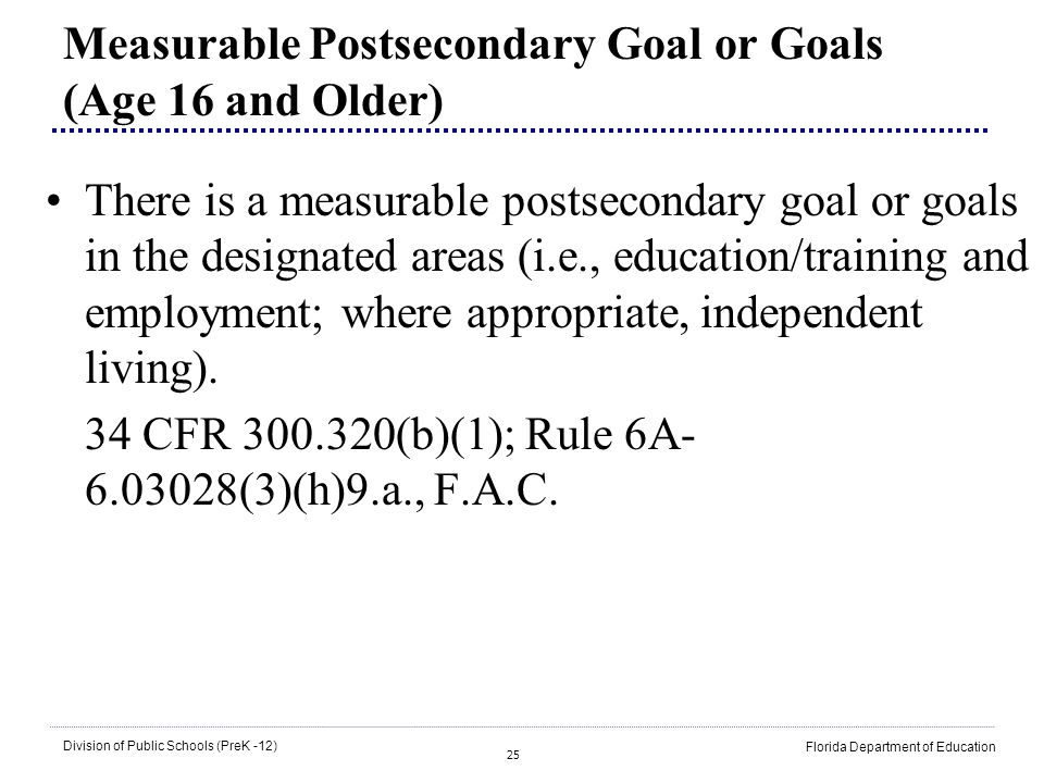 Measurable Postsecondary Goal or Goals (Age 16 and Older)