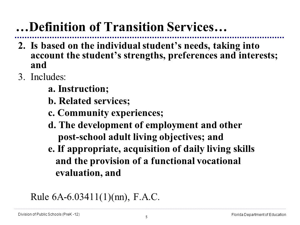 …Definition of Transition Services…