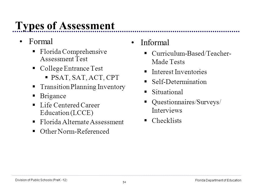 Types of Assessment Formal Informal
