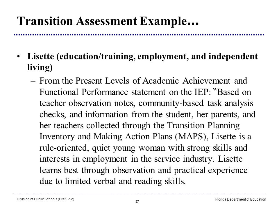 Transition Assessment Example…