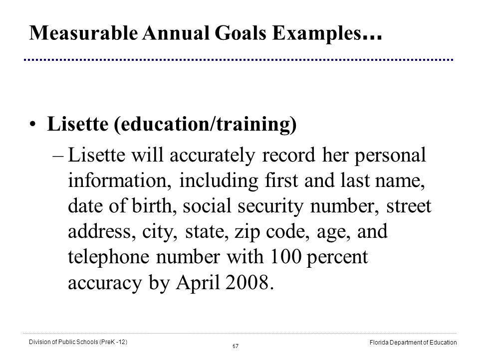 Measurable Annual Goals Examples…