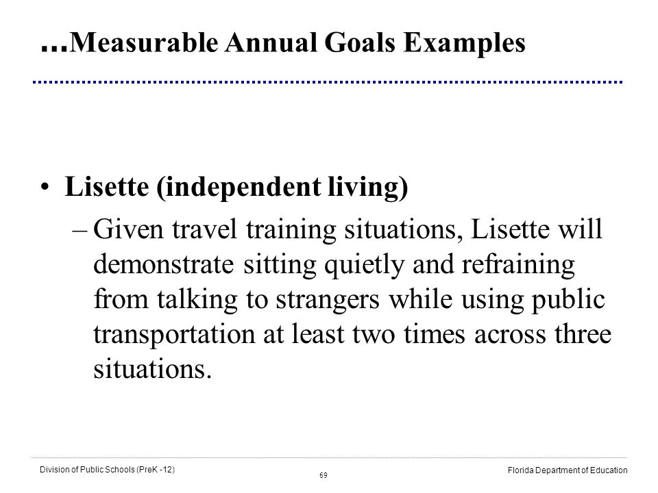 …Measurable Annual Goals Examples
