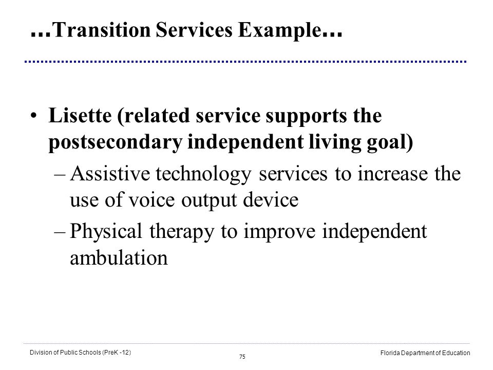…Transition Services Example…