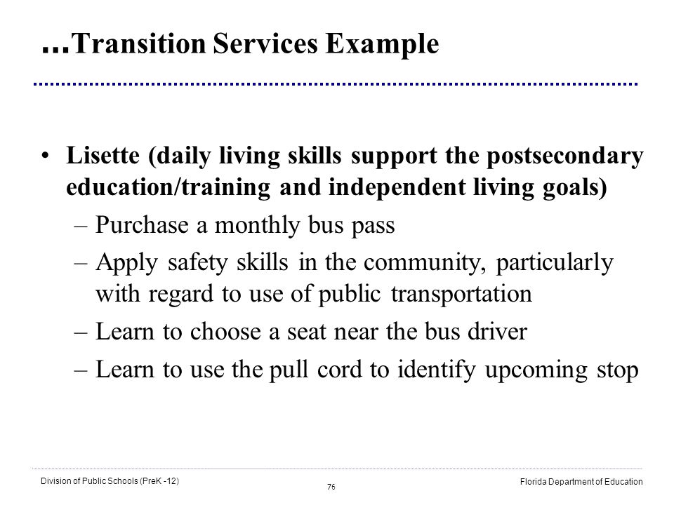 …Transition Services Example