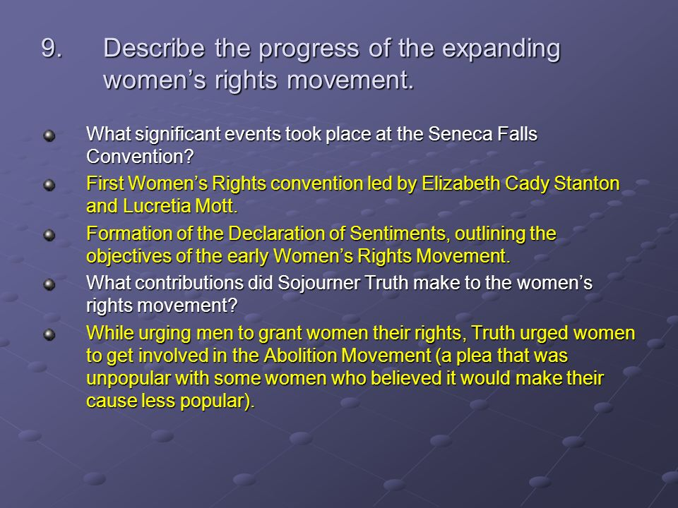 the progression of women's rights from