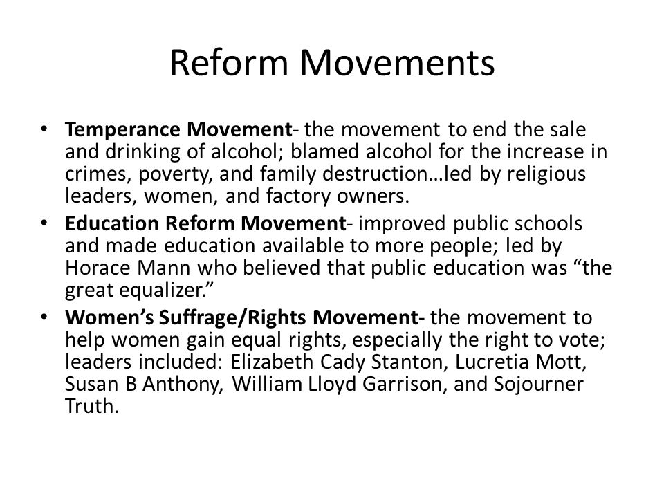 reform movements and the expansion of Free reform movements papers, essays the jacksonian era involved many new ideas such as king mob, the spoils system, expansion towards the west.