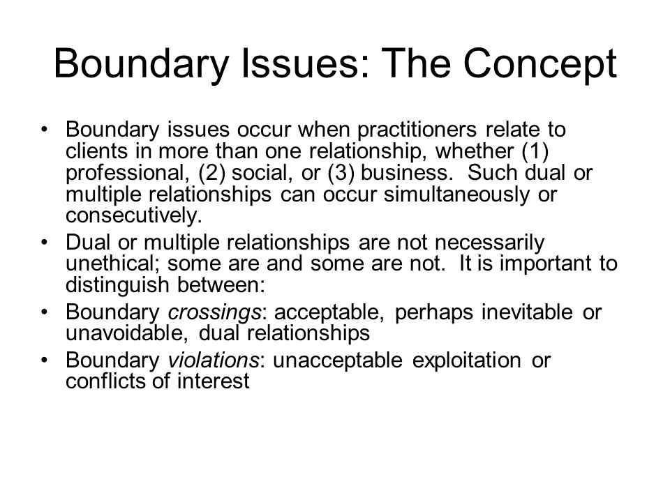 boundaries in a dual relationship essay Home » psychology » dual relationships » ethical decision making  a practical  approach to boundaries in psychotherapy: making decisions, bypassing.