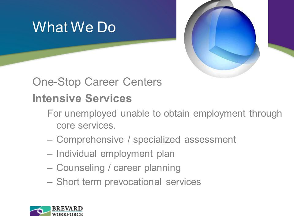 What We Do One-Stop Career Centers Intensive Services