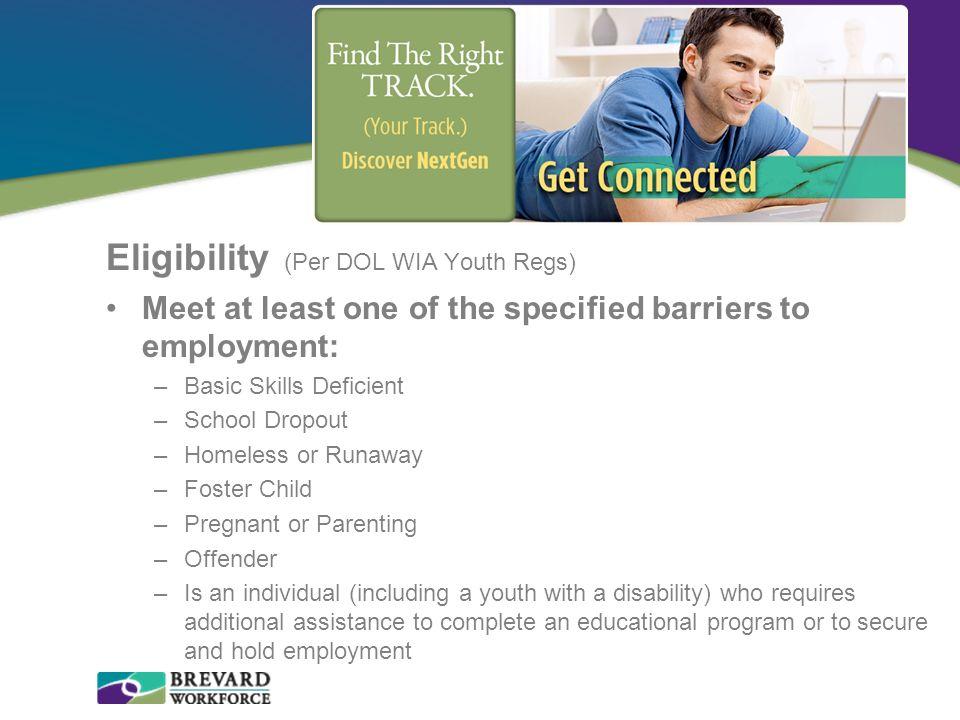 Eligibility (Per DOL WIA Youth Regs)