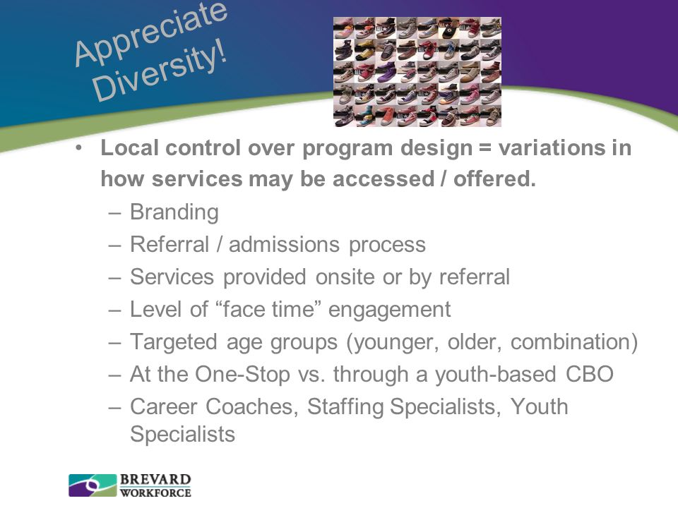 Appreciate Diversity! Local control over program design = variations in how services may be accessed / offered.