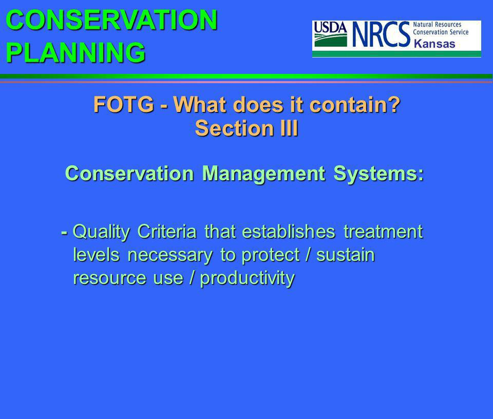 FOTG - What does it contain Section III