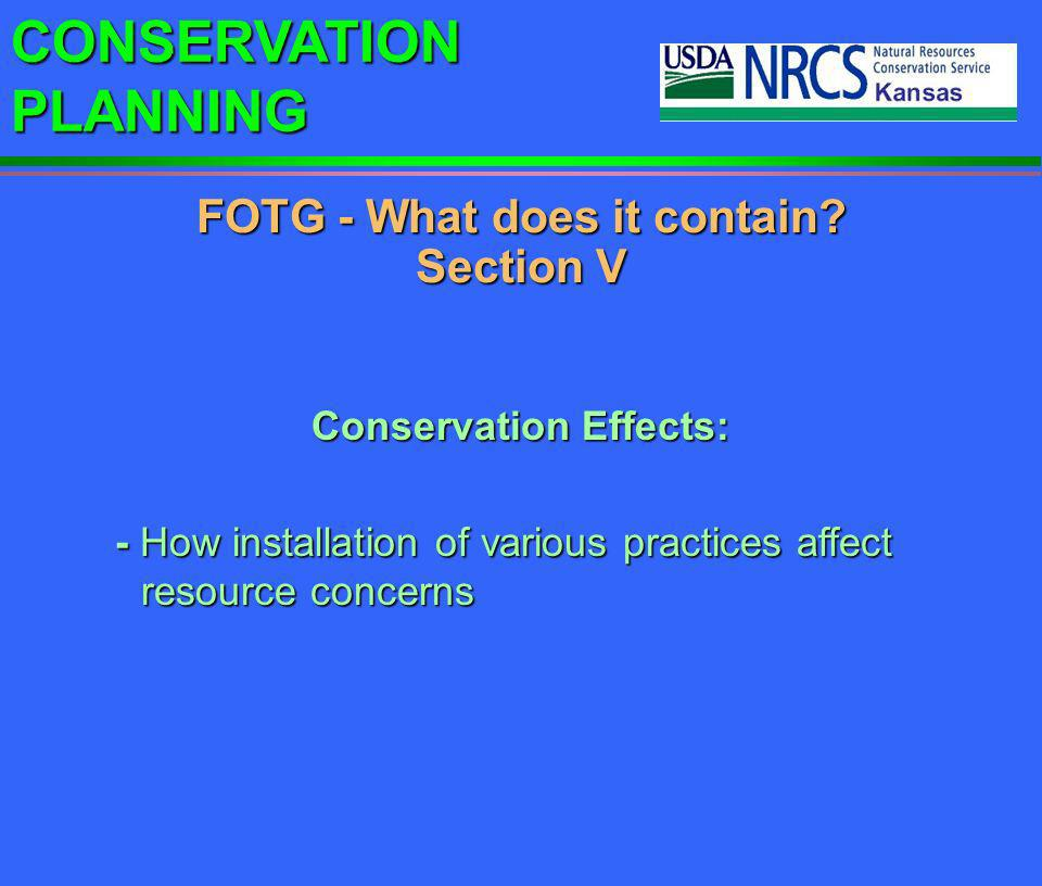 FOTG - What does it contain Section V Conservation Effects: