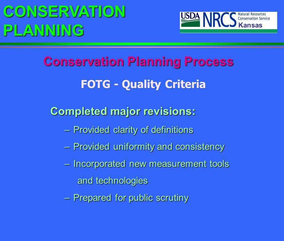 Conservation Planning Process FOTG - Quality Criteria