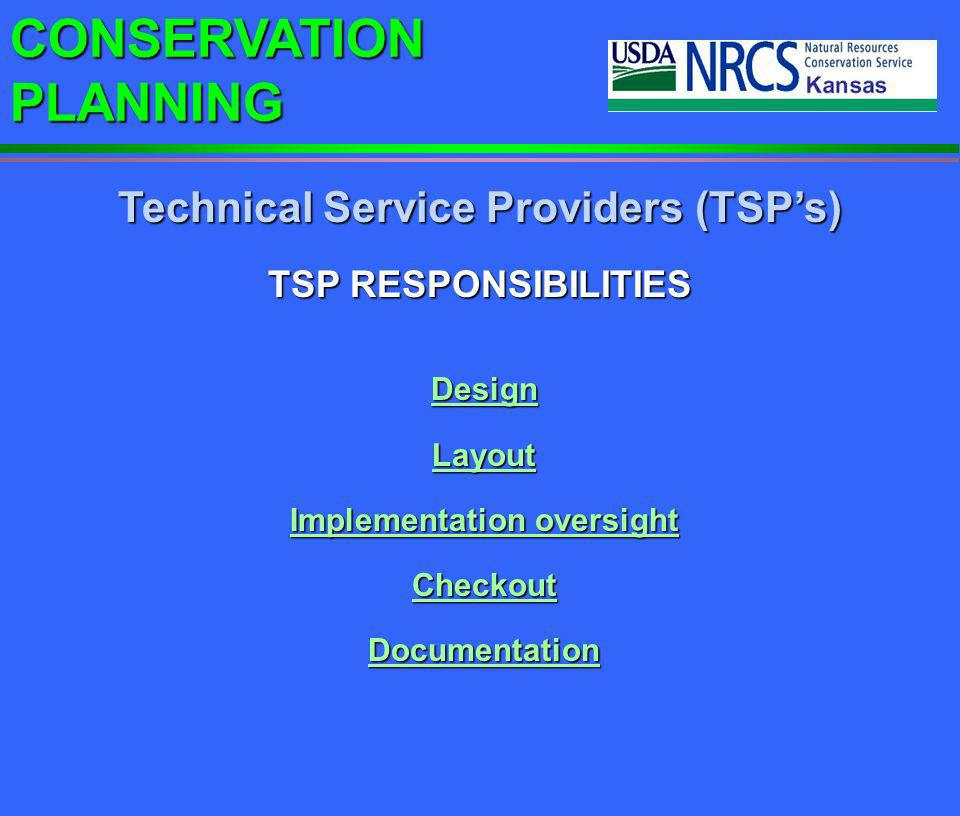 Technical Service Providers (TSP's) Implementation oversight