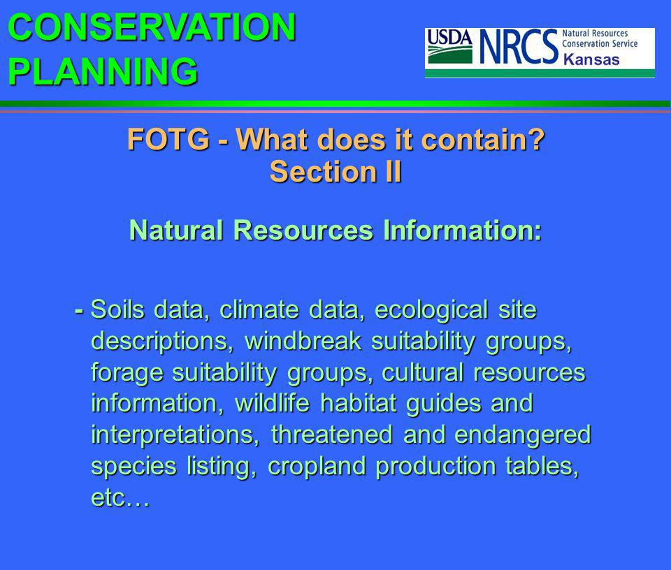 FOTG - What does it contain Section II