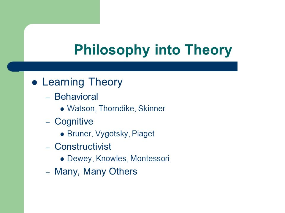 Philosophy into Theory