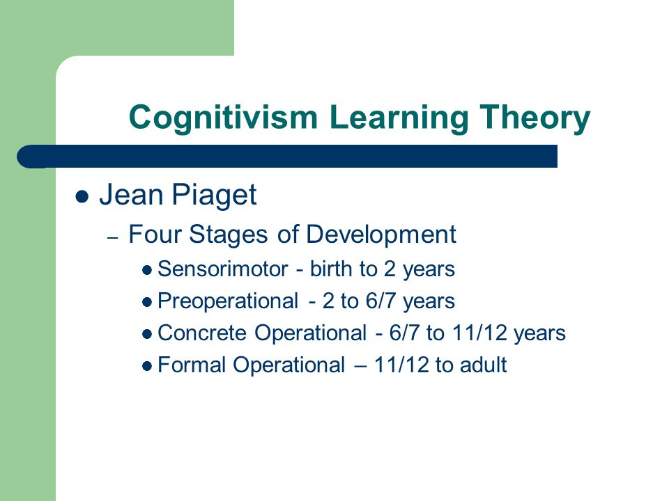 Cognitivism Learning Theory
