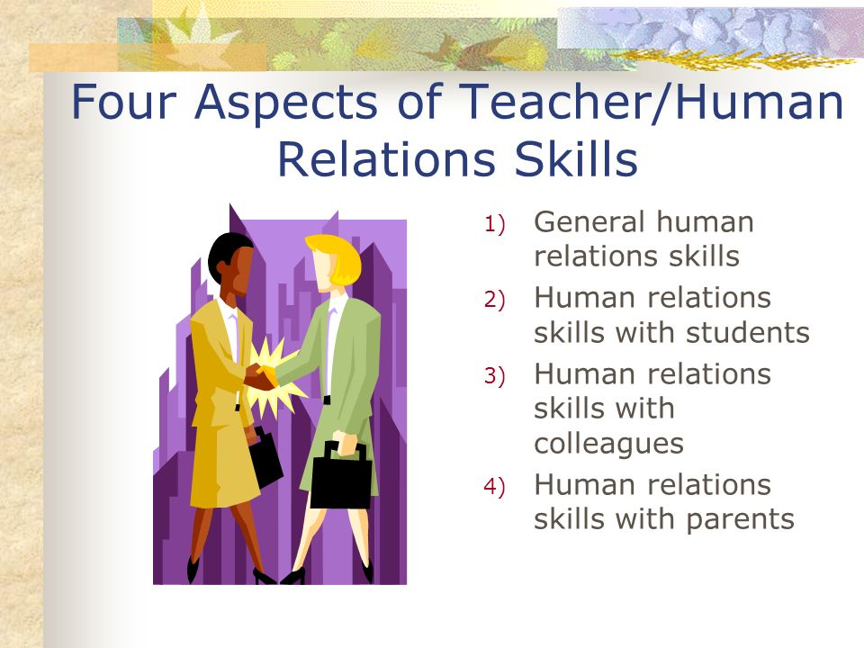 Four Aspects of Teacher/Human Relations Skills