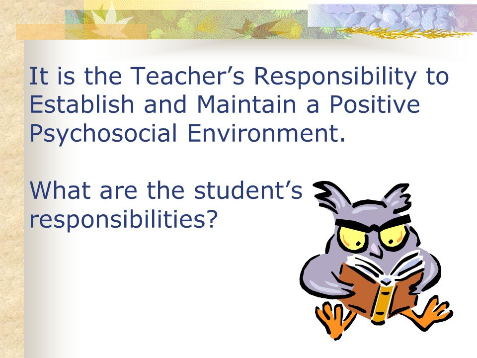 It is the Teacher's Responsibility to Establish and Maintain a Positive Psychosocial Environment.