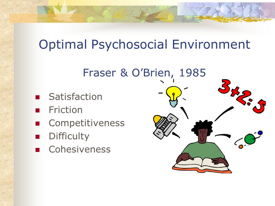 Optimal Psychosocial Environment Fraser & O'Brien, 1985
