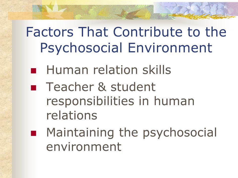 Factors That Contribute to the Psychosocial Environment