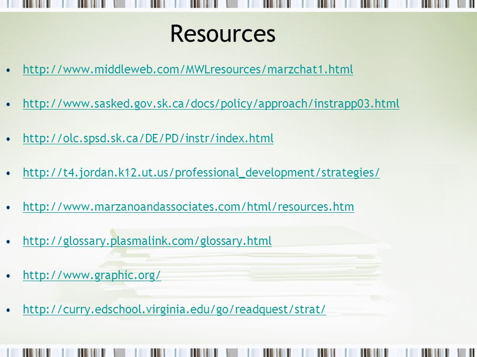 Resources http://www.middleweb.com/MWLresources/marzchat1.html