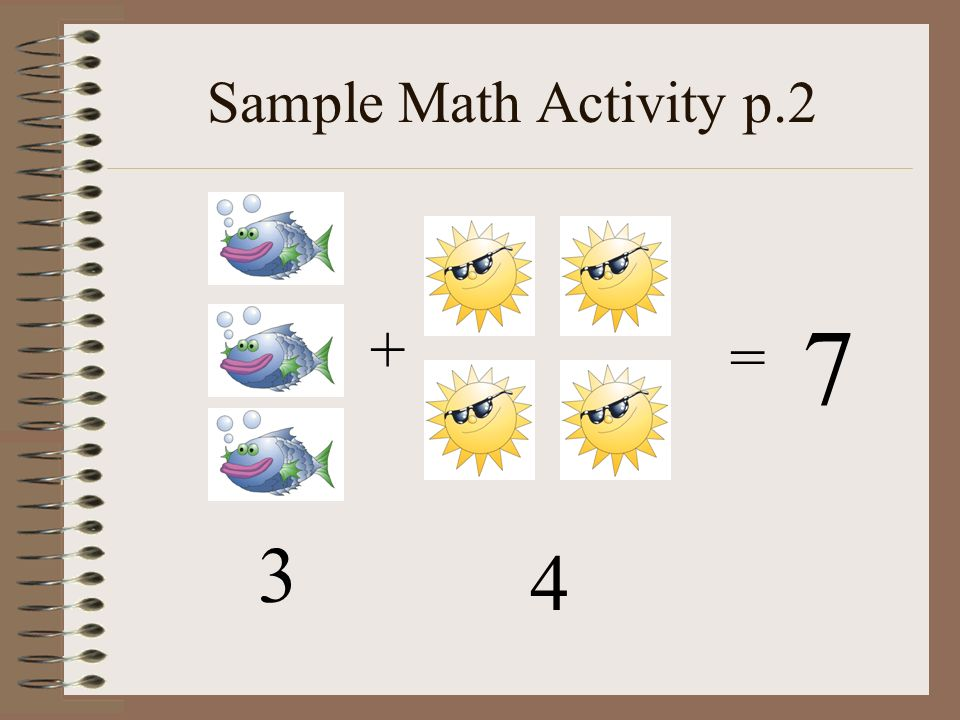 Sample Math Activity p.2 7 + = 3 4