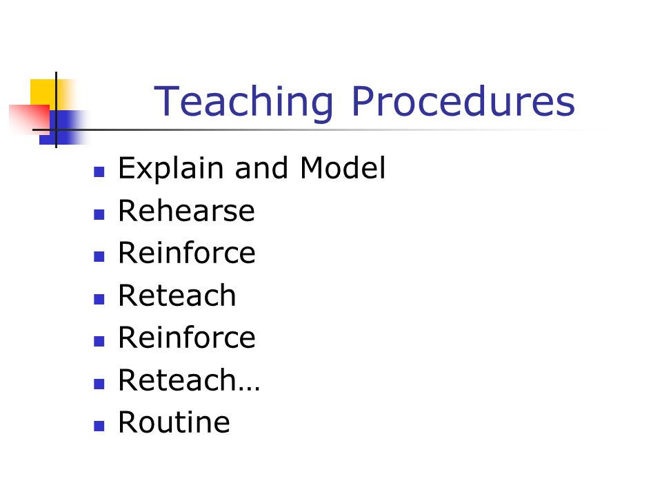Teaching Procedures Explain and Model Rehearse Reinforce Reteach
