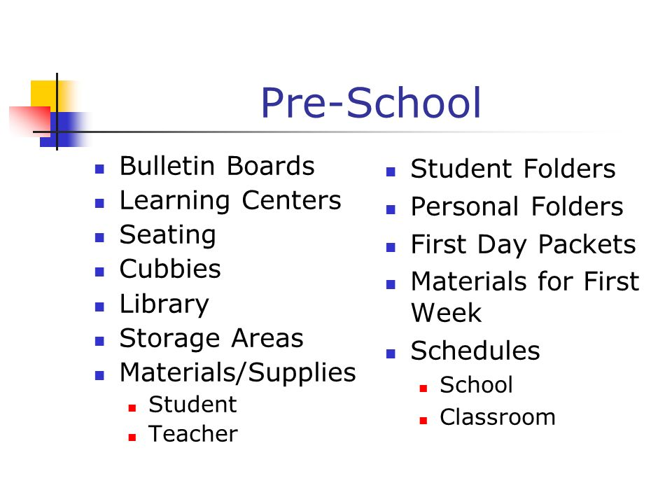 Pre-School Bulletin Boards Learning Centers Seating Cubbies Library