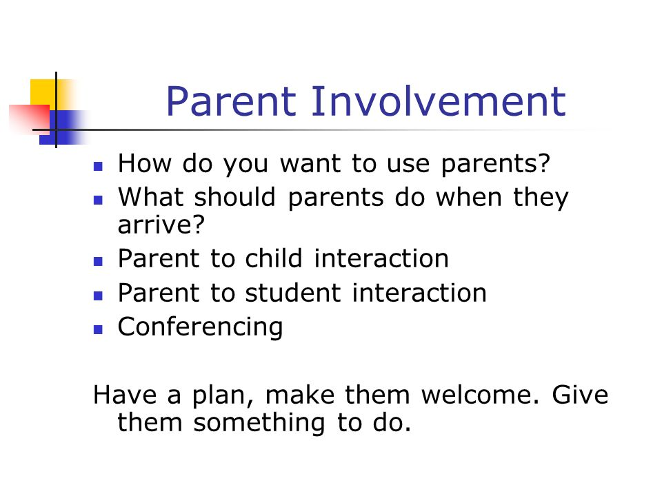 Parent Involvement How do you want to use parents