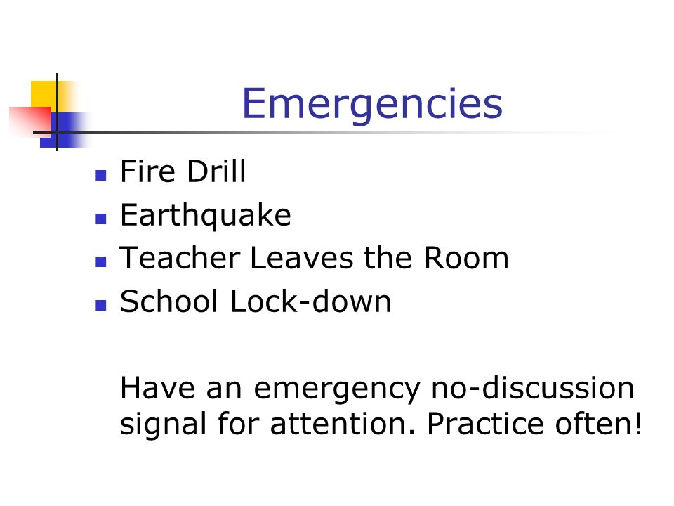 Emergencies Fire Drill Earthquake Teacher Leaves the Room