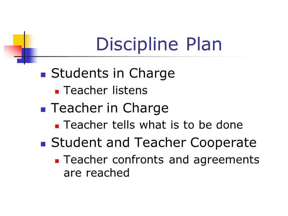 Discipline Plan Students in Charge Teacher in Charge