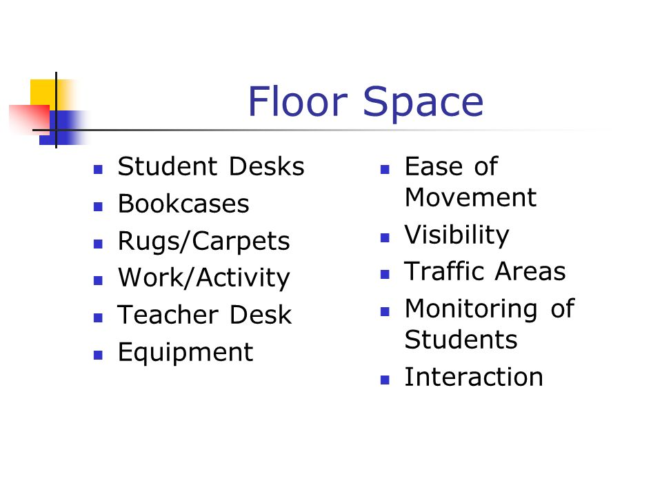 Floor Space Student Desks Bookcases Rugs/Carpets Work/Activity