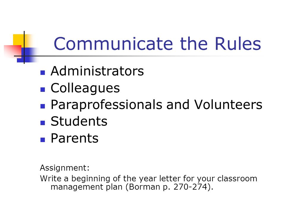Communicate the Rules Administrators Colleagues