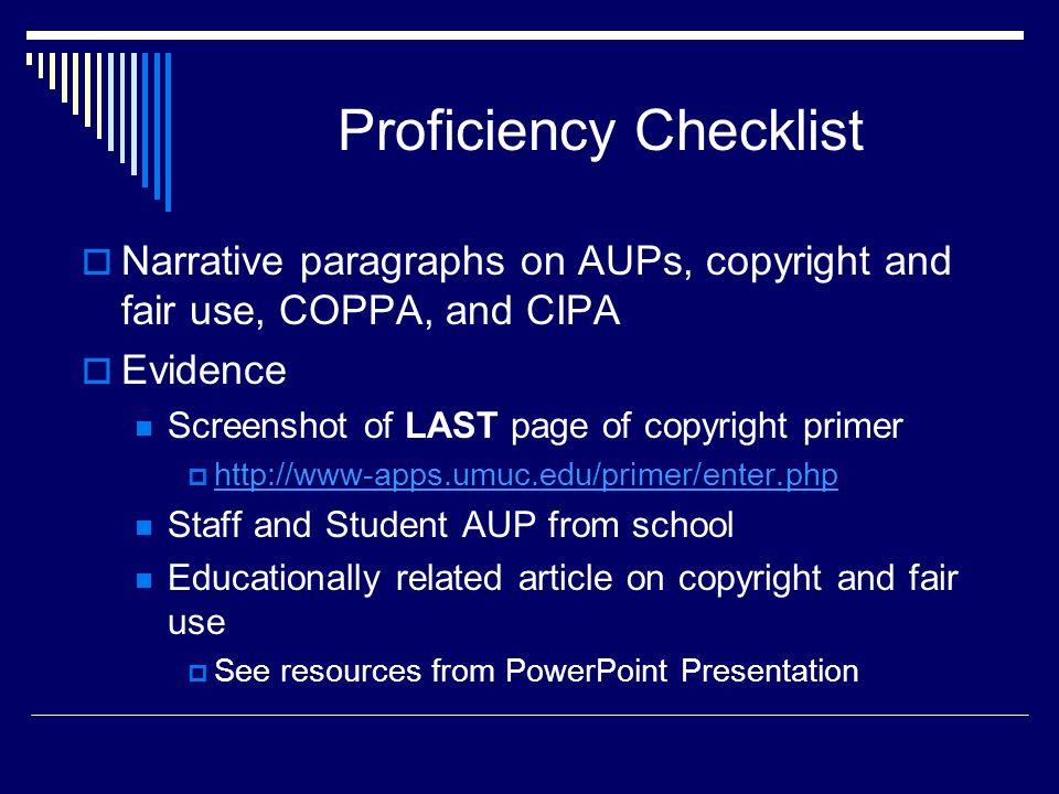 Proficiency Checklist