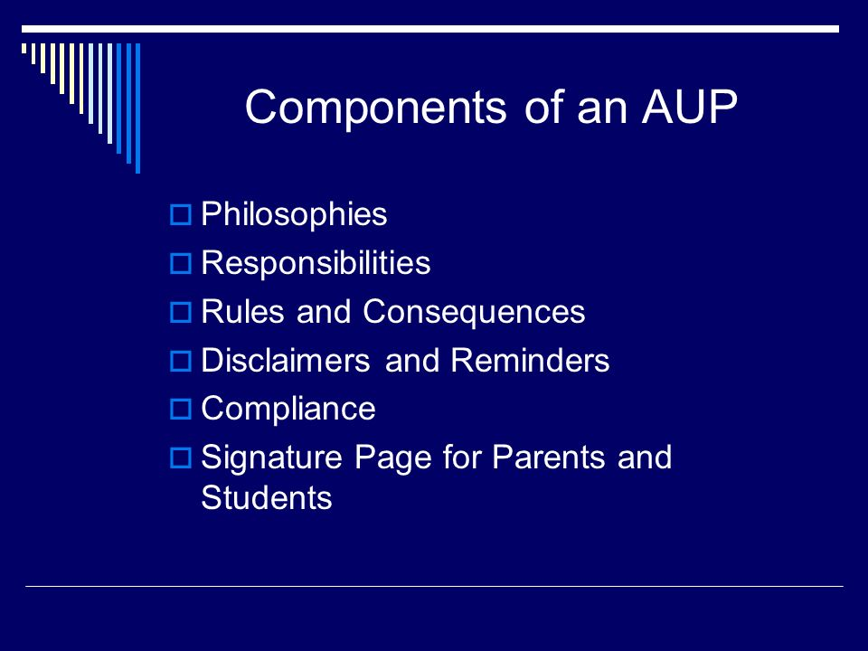 Components of an AUP Philosophies Responsibilities