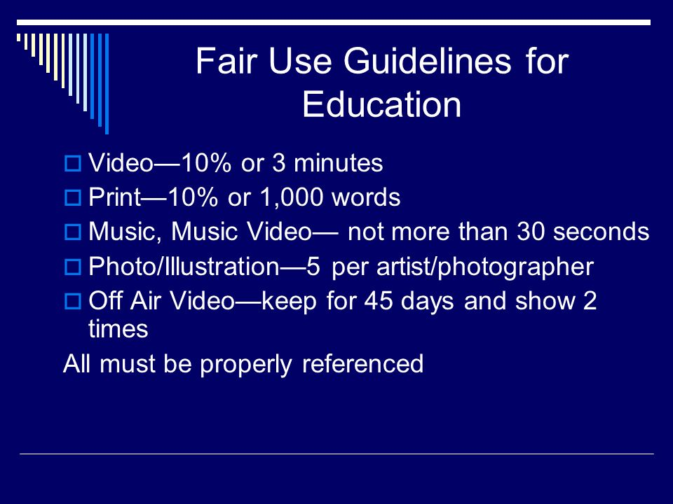 Fair Use Guidelines for Education