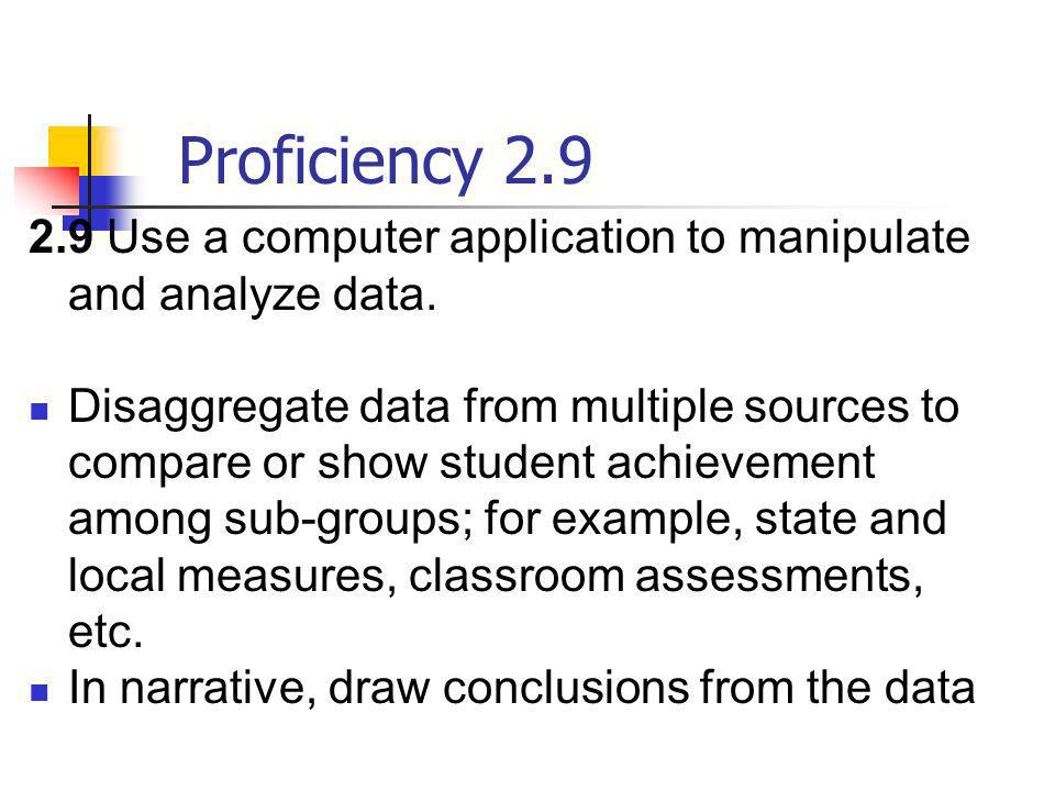 Proficiency 2.92.9 Use a computer application to manipulate and analyze data.