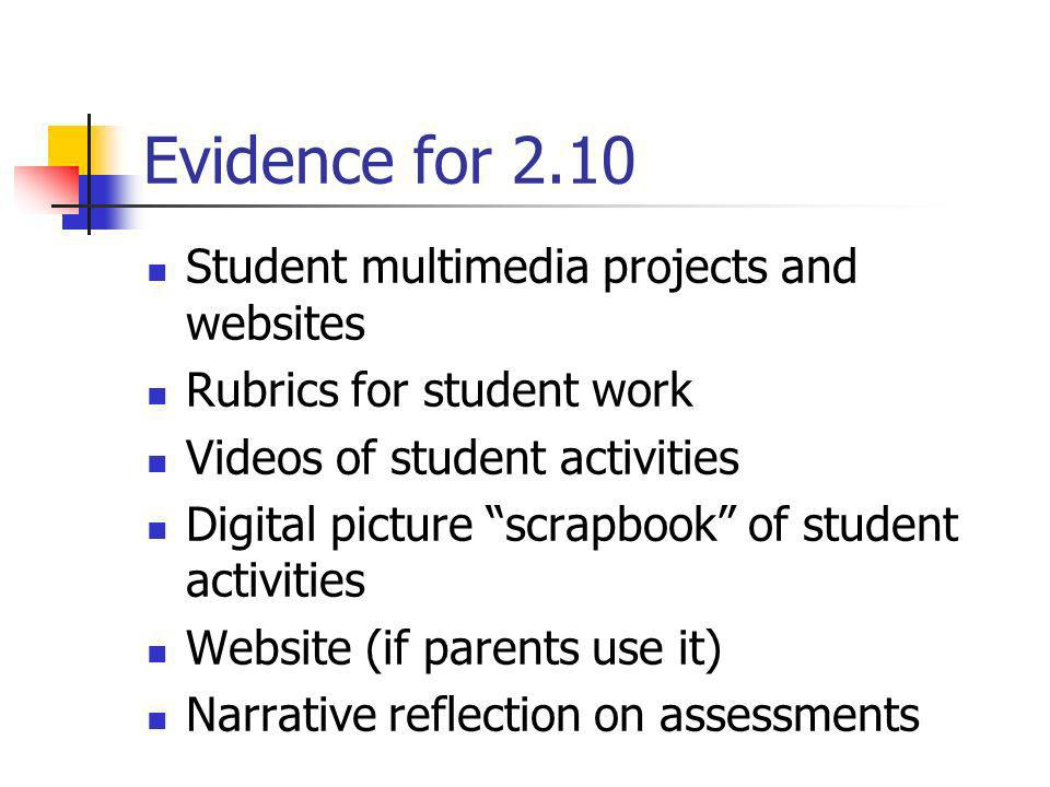Evidence for 2.10 Student multimedia projects and websites