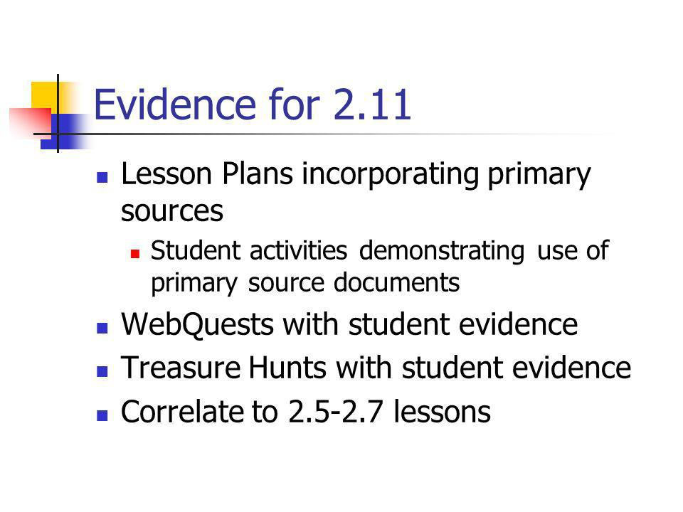 Evidence for 2.11 Lesson Plans incorporating primary sources
