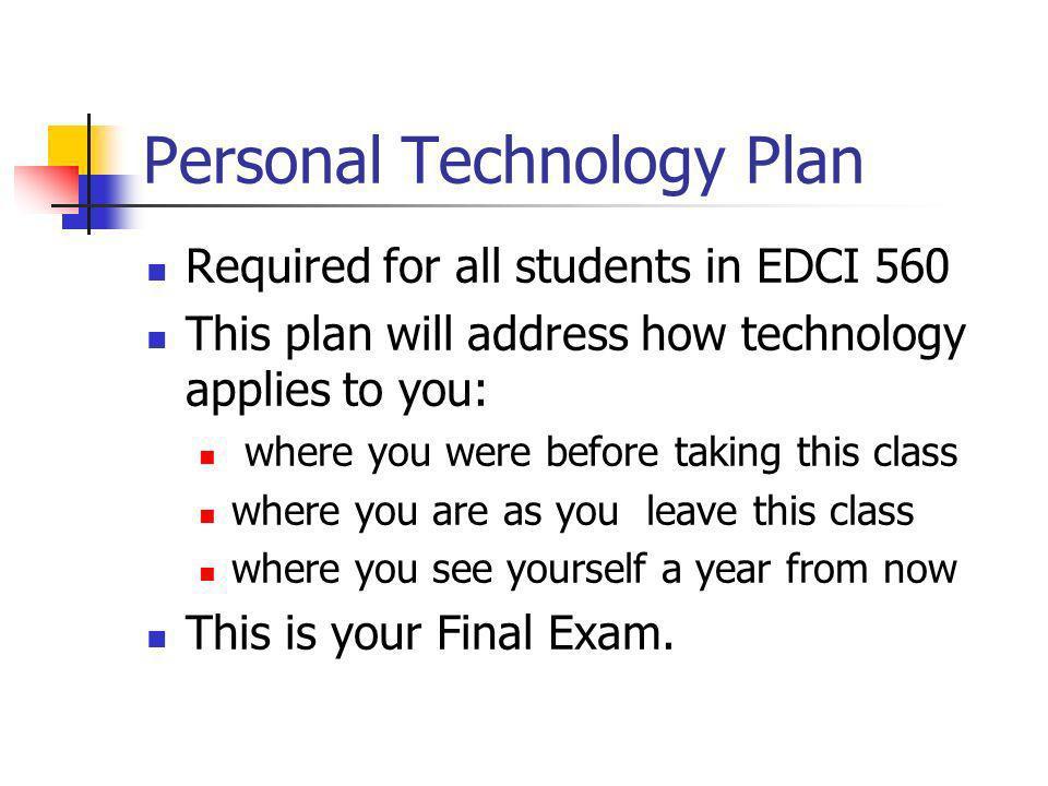 Personal Technology Plan