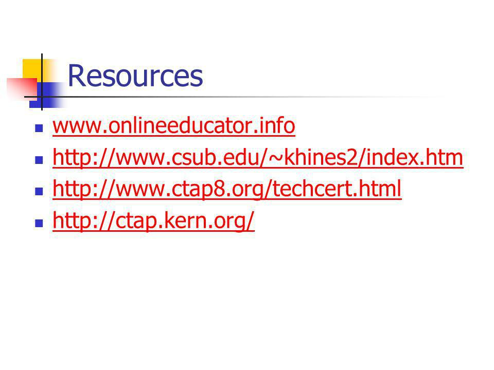 Resources www.onlineeducator.info