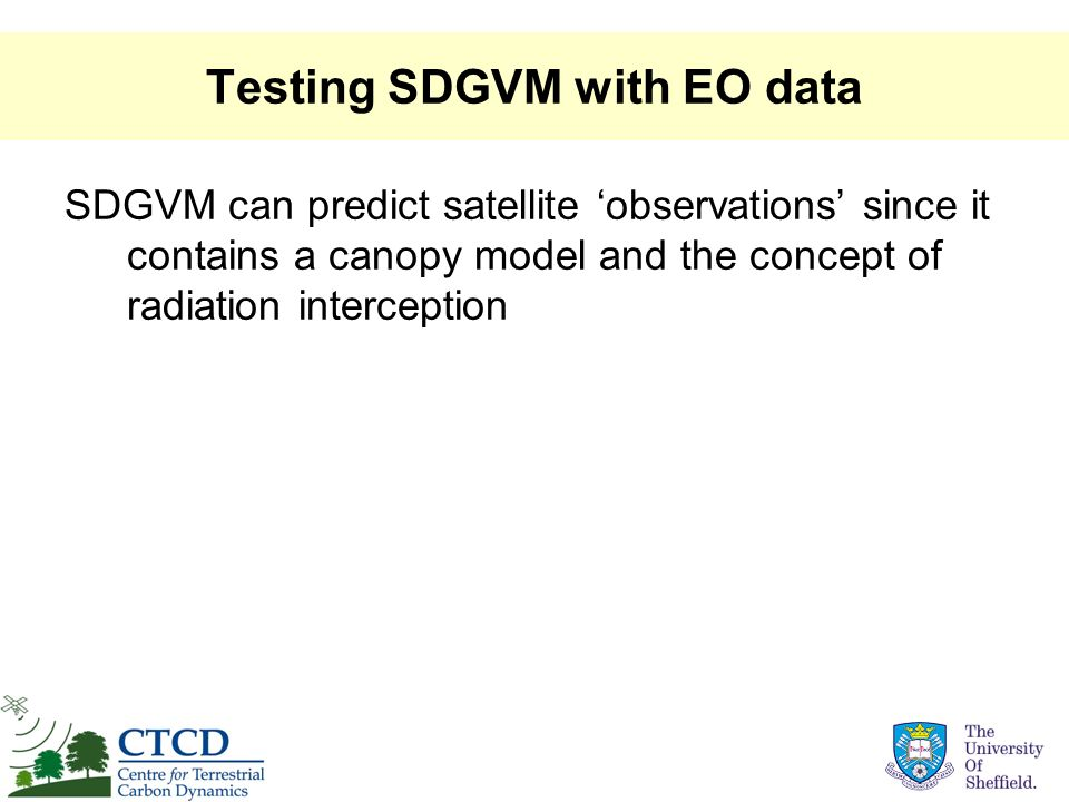 Testing SDGVM with EO data