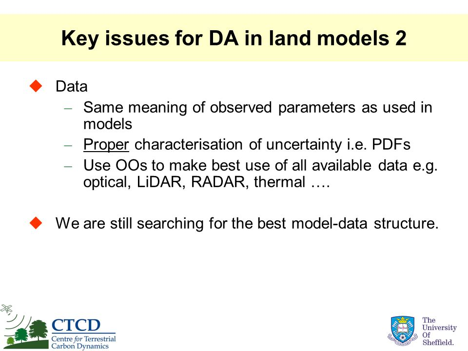 Key issues for DA in land models 2