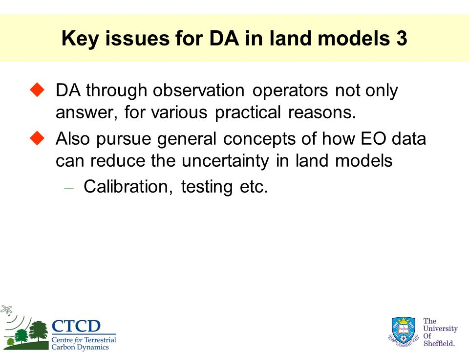 Key issues for DA in land models 3