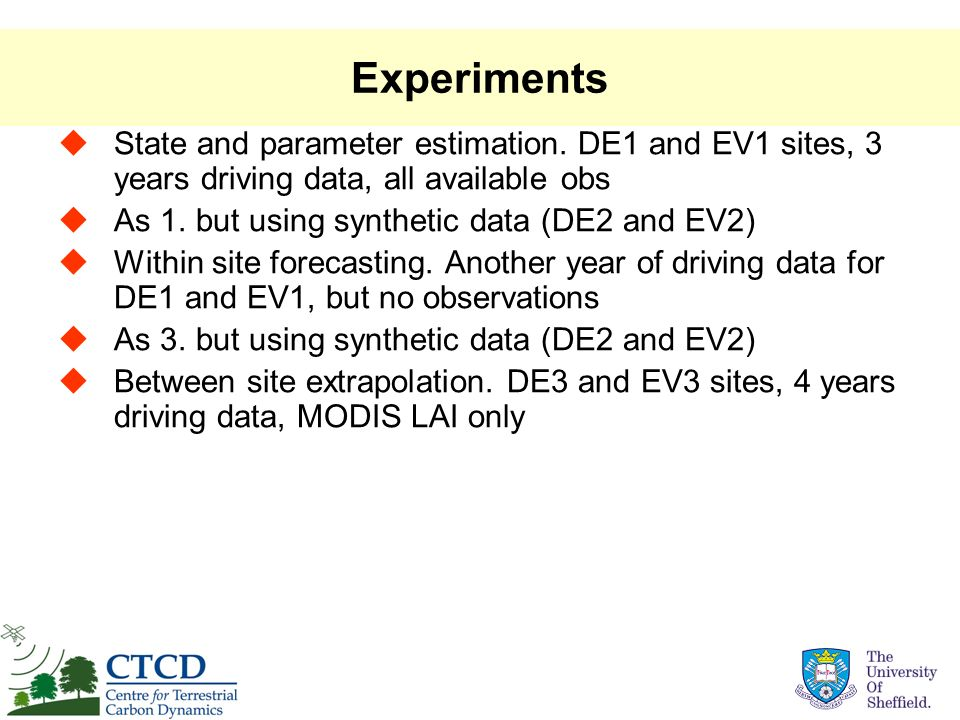 Experiments State and parameter estimation. DE1 and EV1 sites, 3 years driving data, all available obs.