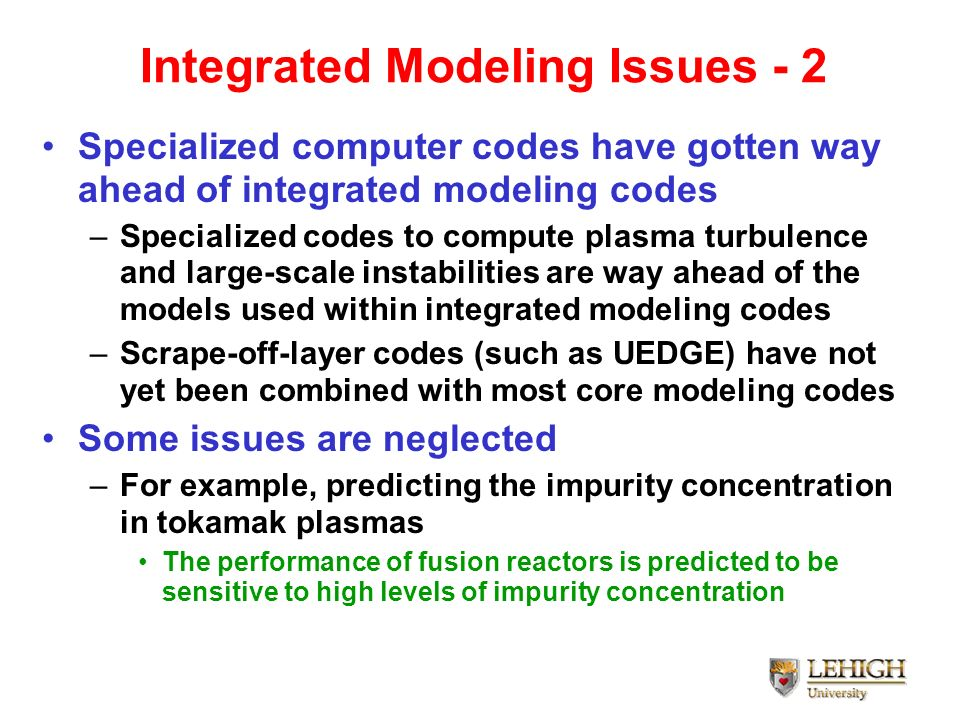 Integrated Modeling Issues - 2