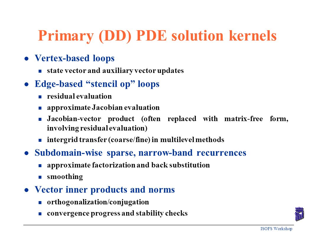 Primary (DD) PDE solution kernels