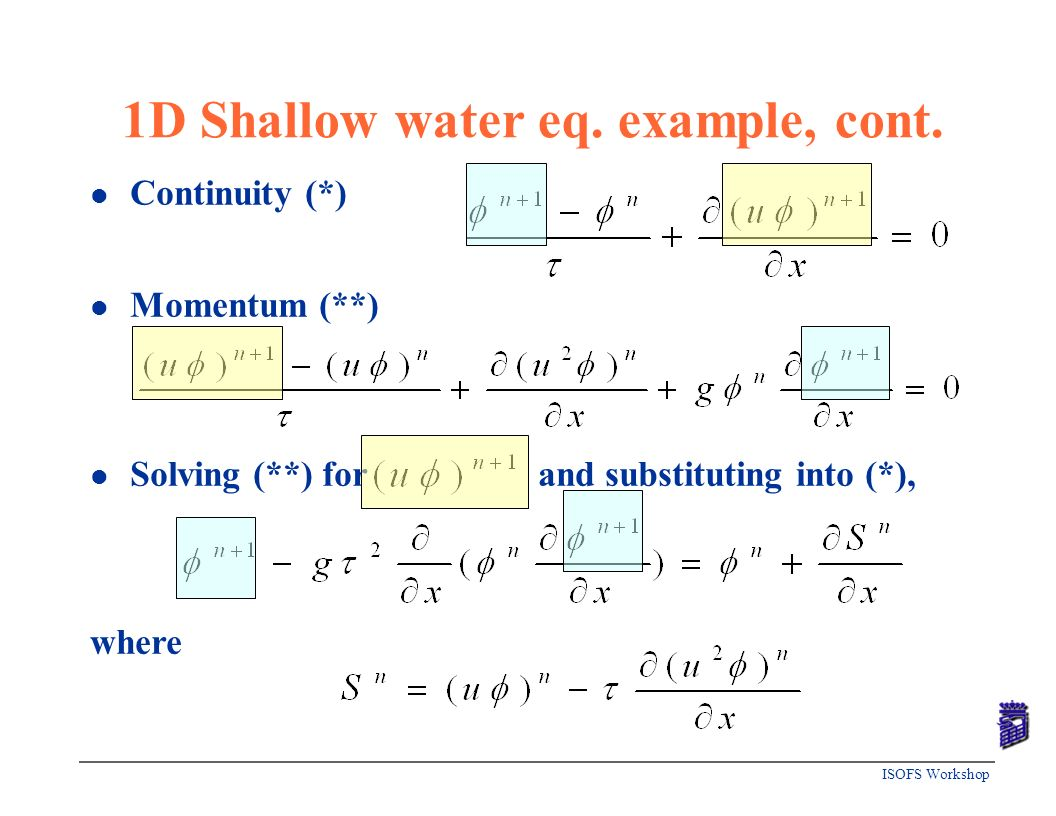 1D Shallow water eq. example, cont.