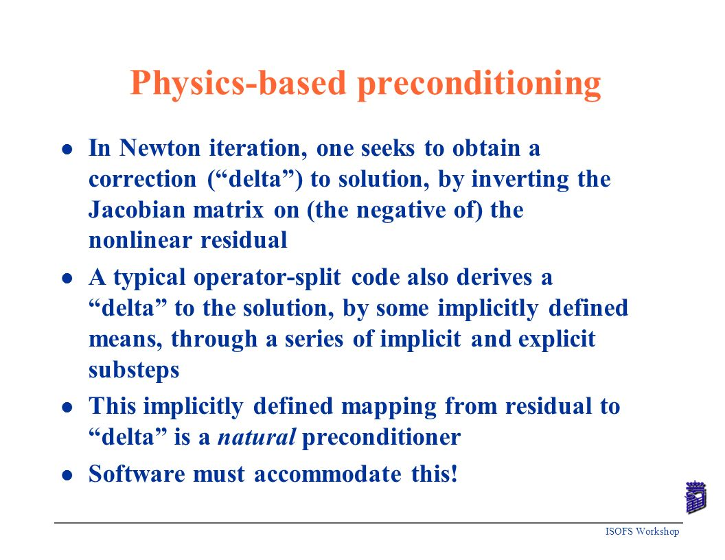 Physics-based preconditioning